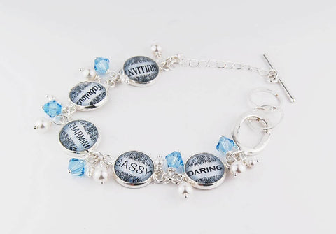 Blue Sassy Word Bracelet with Pearls and Crystals