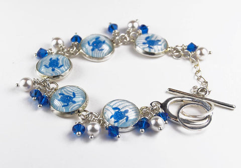 Blue Turtle Beach Bracelet with Pearls and Crystals