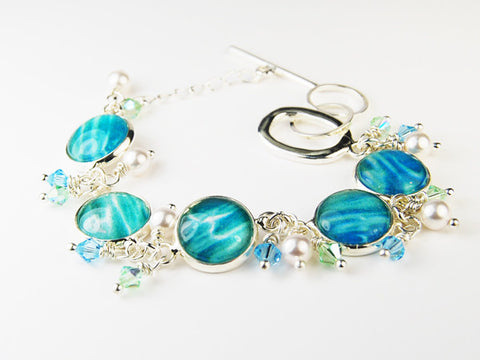 Seascape Bracelet with Pearls and Crystals