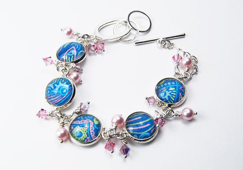 Blue and Pink Seashore Abstract Bracelet with Pearls and Crystals