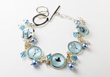 Blue Birdcage and Hearts Bracelet with Pearls and Crystals