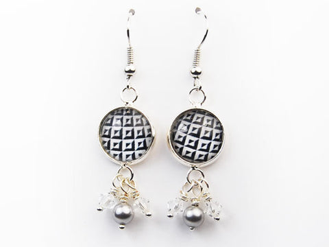 Black and White Checks Pearl & Crystal Drop Earrings