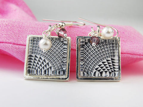 Black and White Check Square Earrings