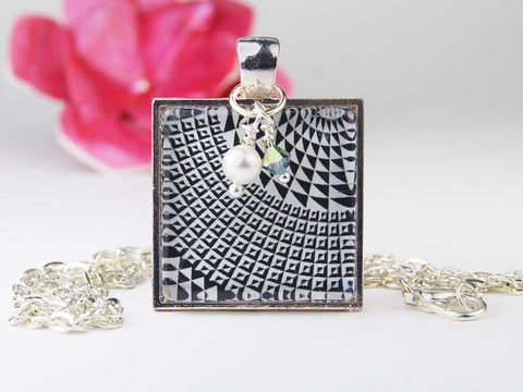 Black and White Check Square Pendant Necklace