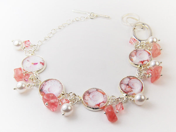 Coral Seashells Bracelet with Pearls