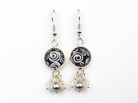 Black and White Curls Pearl & Crystal Drop Earrings