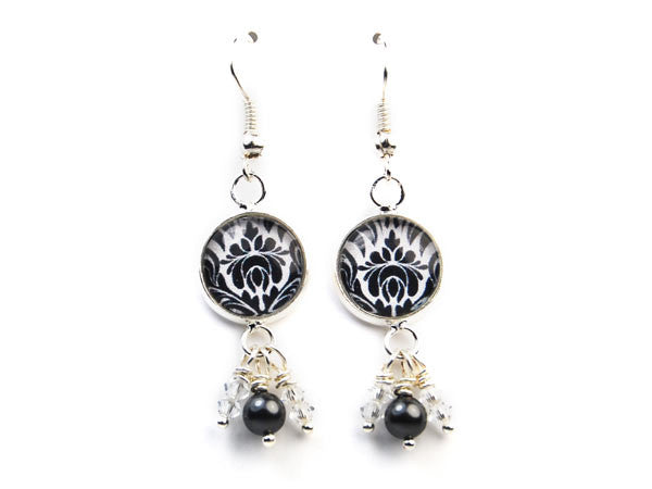 Black and White Damask Pearl & Crystal Drop Earrings