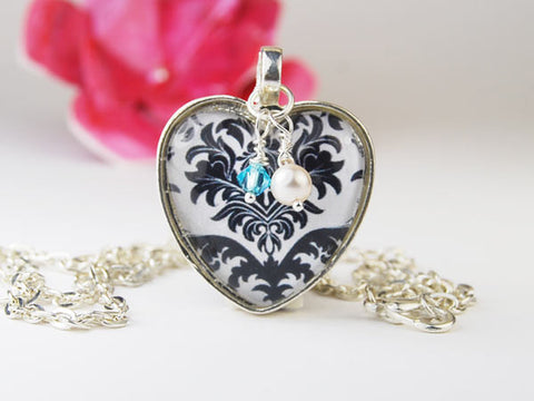 Black and White Damask Heart Pendant Necklace