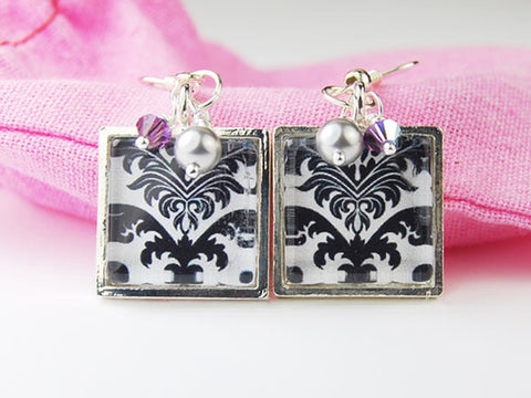 Black and White Damask Square Earrings