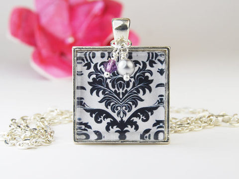 Black and White Damask Square Pendant Necklace