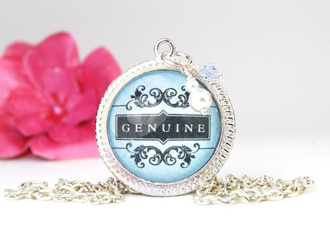 Genuine is the Word Round Pendant Necklace