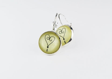 Pink or Green Tiny Heart Round Earrings | Hand-drawn Heart Earrings