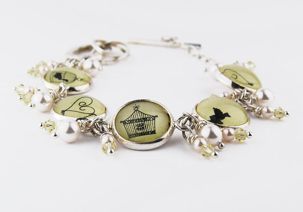 Yellow Birdcage and Hearts Bracelet with Pearls and Crystals