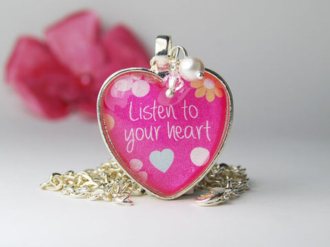 Listen to Your Heart Pink Pendant Necklace