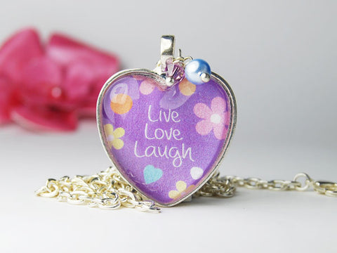 Live Love Laugh Purple Heart Necklace