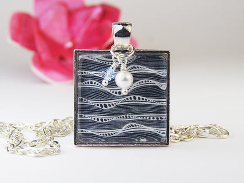Black and White Mindwave Square Pendant Necklace