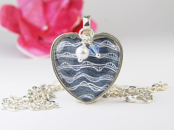 Black and White Mindwave Heart Pendant Necklace