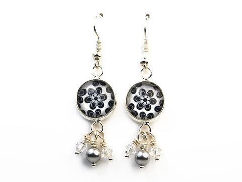 Mod Black and White Flower Drop Earrings with Pearl and Crystal