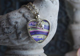 Orchid Layers Heart Pendant Necklace