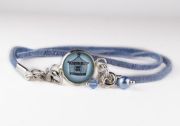 Petite Blue Open Birdcage Leather Wrap Bracelet