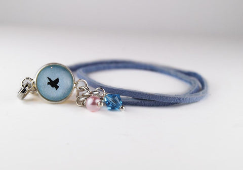 Petite Blue Bird Leather Wrap Bracelet
