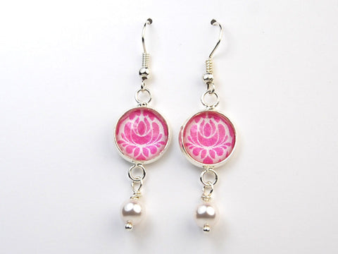 Pink Damask Pearl Earrings