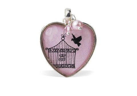 Pink Flying Bird Heart Necklace