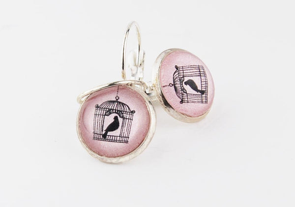 Pink Birdcage Round Earrings | Fly Away Little Bird | Victorian Birdcage