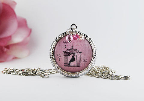 Pink Birdcage and Songbird Pendant Necklace