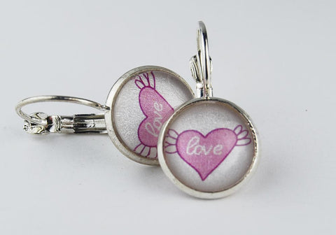 Pink or Blue Heart Round Earrings | Heart with Wings | Love Earrings