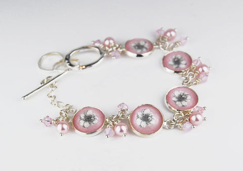 Pink Flower Bracelet with Pearls and Crystals