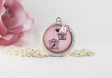 Pink Twin Birdcage and Songbird Pendant Necklace