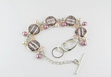 Pink Sassy Word Bracelet with Pearls and Crystals