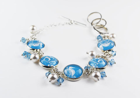 Seahorse Bracelet with Pearls and Crystals