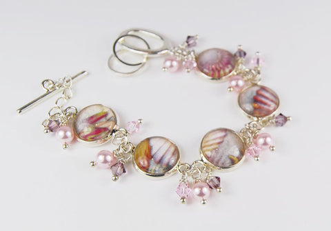 Seashell Abstract Bracelet with Pearls and Crystals