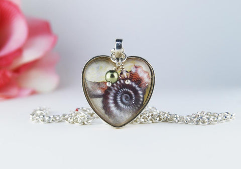 Seashell Heart Pendant Necklace