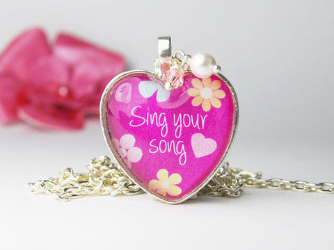 Sing Your Song Pink Heart Necklace