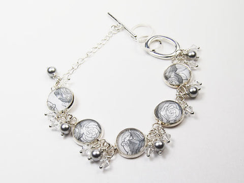 Soft grey flower bracelet