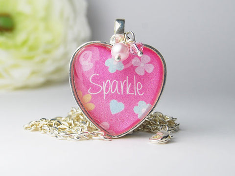 Pink Sparkle Heart Pendant Necklace