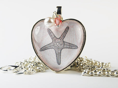 Starfish Heart Pendant Necklace