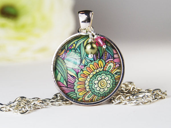 Sun Jungle Round Pendant Necklace