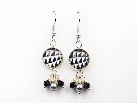 Black and White Time Tunnel Pearl & Crystal Drop Earrings