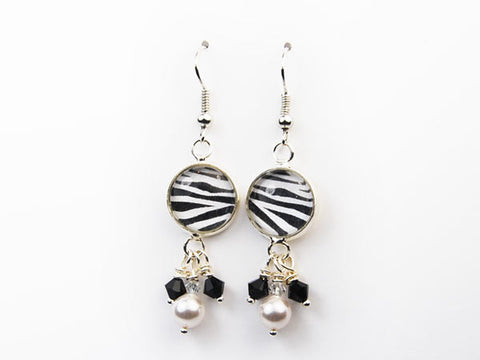Zebra Pearl & Crystal Drop Earrings