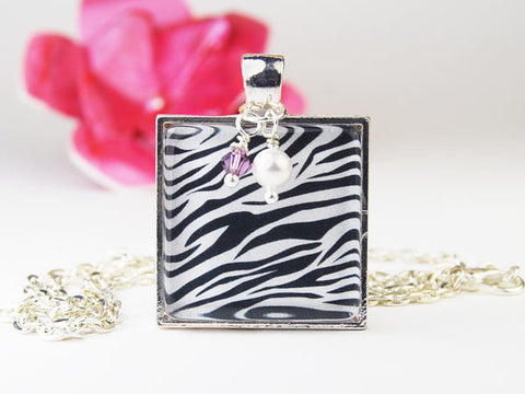 Zebra Square Pendant Necklace