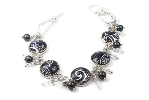 Black Paisley Bracelet with Pearls and Crystals