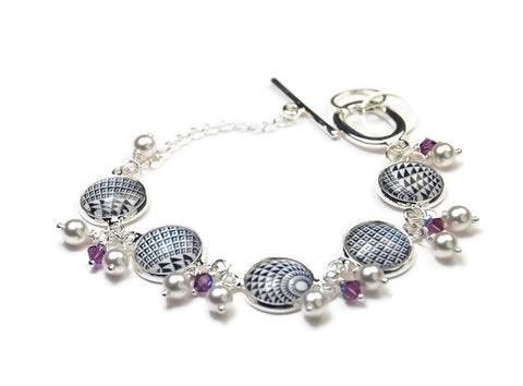 Black and White Modern Checked Bracelet with Pearls and Crystals