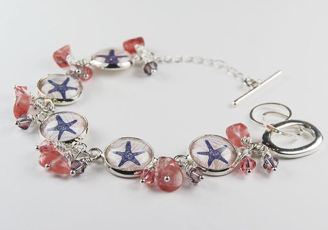 Starfish Beach Bracelet with Coral Beads and Crystals