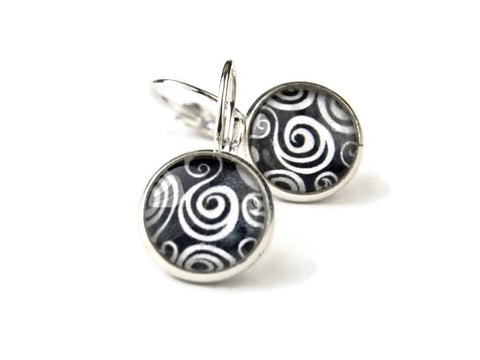 Black and White Round Earrings with Curls and Swirls