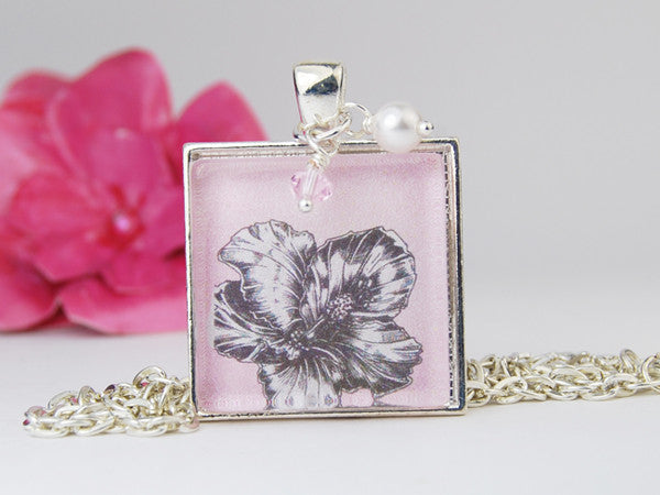 Pink Hibiscus Square Pendant Necklace Rose Crescent Jewelry
