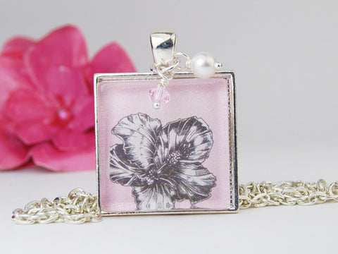 Pink Hibiscus Square Pendant Necklace